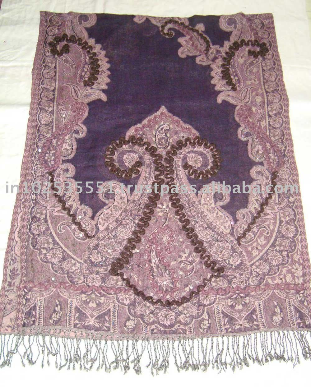 100% Wool Pashmina cutting shawl with fancy wool embroidery
