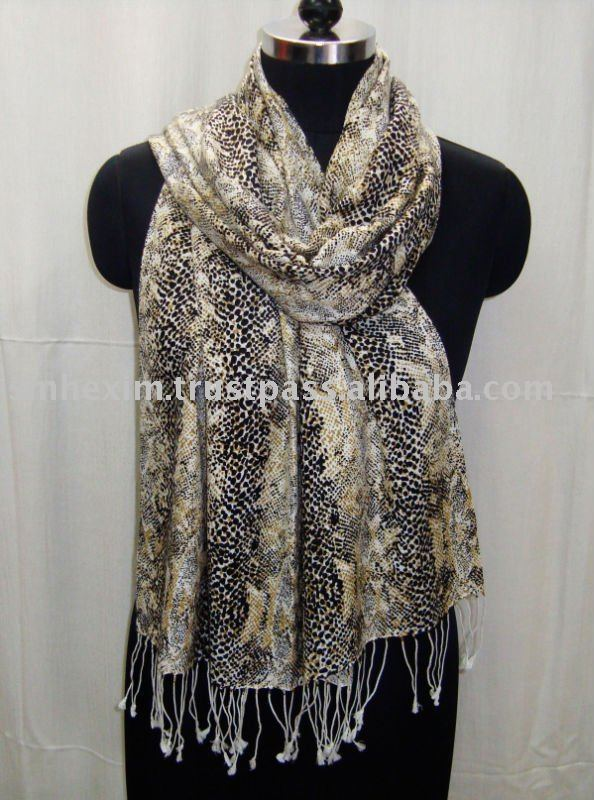 Animal prints silk pashmina shawl