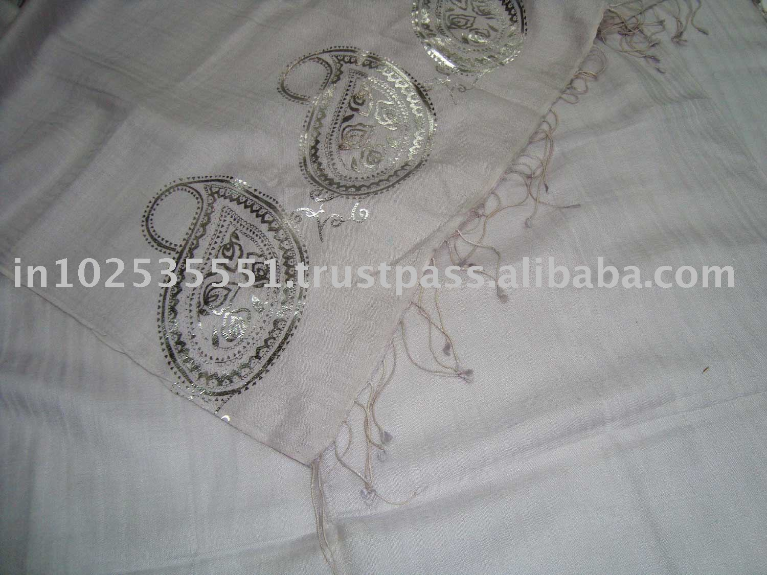 Pashmina Scarves with silver/gold foil print