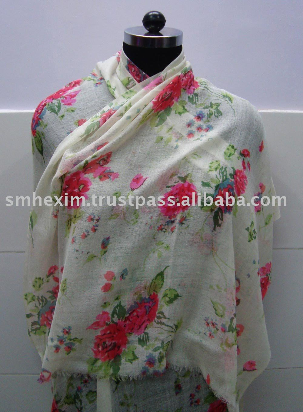 Pinted shawls and scarfs