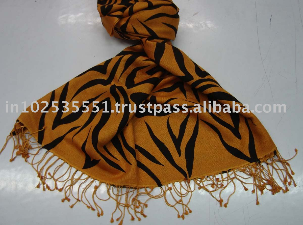 Silk Pashmina Shawl with Zebra print