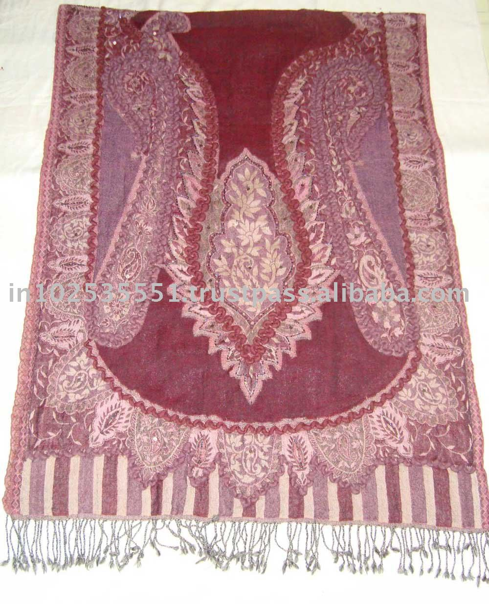 Wool Pashmina jaquard shawl with fancy wool embroidery
